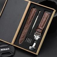 Schmetterling Schnalle Business Uhr Band 18mm 20mm 22mm 24mm Strap Echtem Leder Uhr Band Alligator Grain für Tissot Seiko