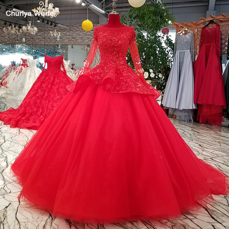 LS69433 Red Ball Gown Evening Dress With Peplum O Neck Long Sleeve Formal Dress For Wedding Party With Heavy Handworking Flowers