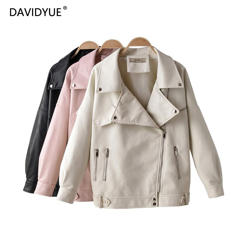 Fall 2019 black   leather   jacket women zipper faux   leather   coat white biker jacket long sleeve chaqueta mujer cuero streetwear