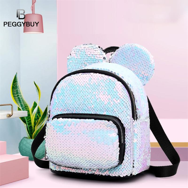 Bling Kids PU Mouse Ear Backpacks Women Sequin Color Student Schoolbag Kid Fashion Mini School Bag Women Travel Sequins Backpack