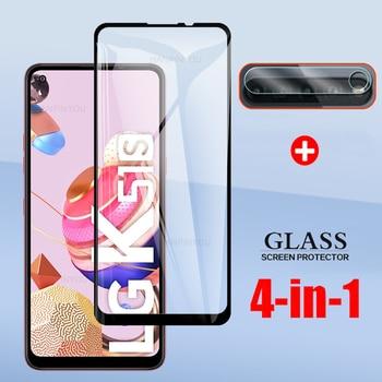 "4-En-1 para LG K51S K41S 6,55 ""funda completa templada de cristal para LG K51S K41S Cámara pantalla de la Lente de Cristal Protector"