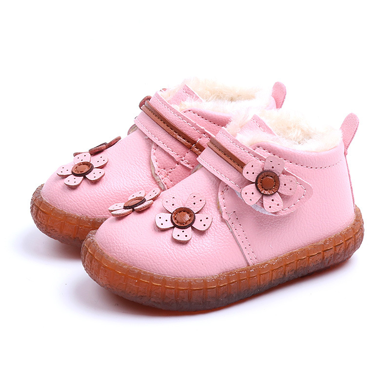 COZULMA Baby Girls Warm Plush Lining Ankle Boots Children Winter Shoes Kids Flower Hook & Loop Snow Boots Size 15-25