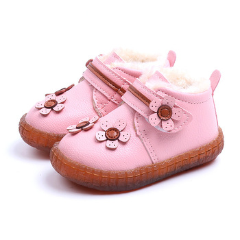 CUZULLAA Baby Girls Warm Plush Lining Ankle Boots Children Winter Shoes Kids Flower Hook & Loop Snow Boots Size 15-25 nt00022 4 men s winter fashionable plush lining warm martin ankle boots black pair size 43