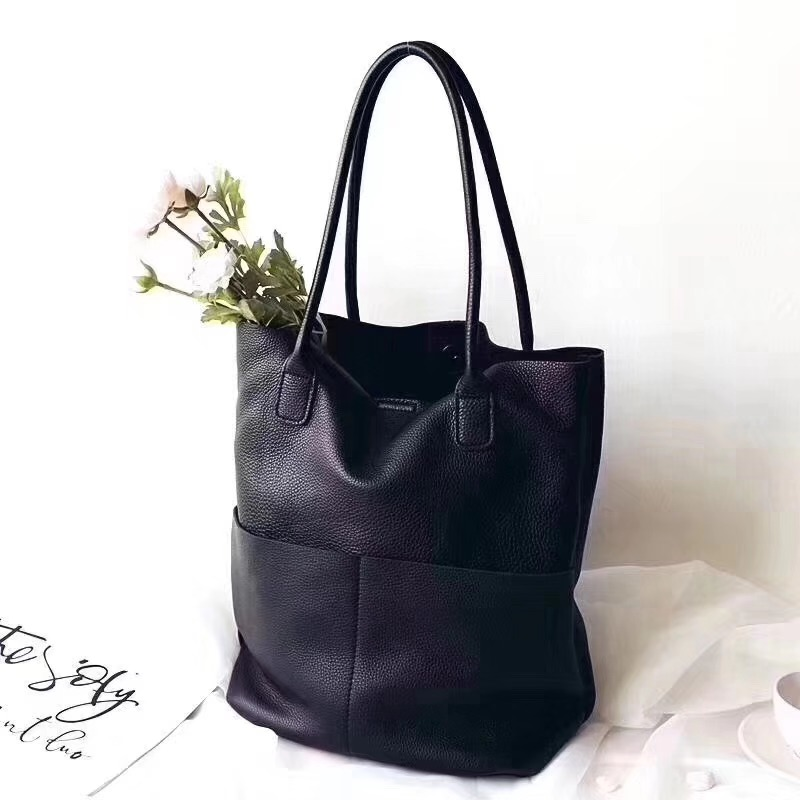 100% Natural Leather  Large Capacity Tote Bag Genuine Leather Women Bucket Bag Big Cowhide Lades Hand Bag