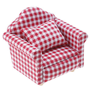 Image 2 - 1:12 Doll house Furniture Dot plaid Flower Chair Sofa with pillow Sweet Furniture for doll house armchair Toys Gift