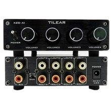 HIFI ضياع 1 المدخلات 4 الناتج RCA محور الصوت الموزع إشارة محدد الجلاد لهجة حجم ل مكبر للصوت مجلس المسرح المنزلي