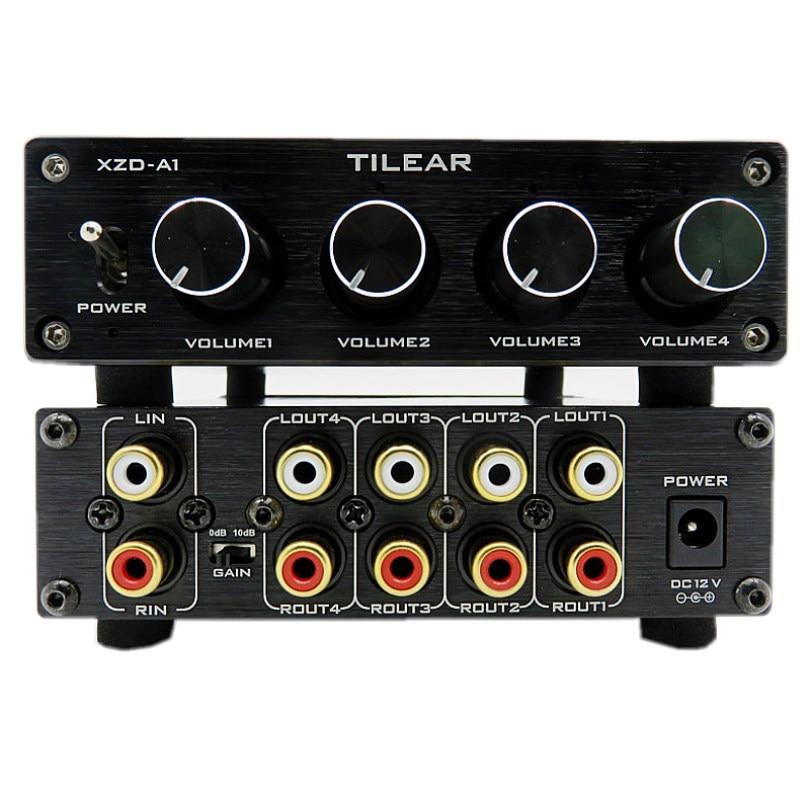 HIFI, 1 вход, 4 выхода, RCA концентратор, дистрибьютор звука, селектор сигнала, переключатель тона, громкость для платы усилителя, домашнего кинот...