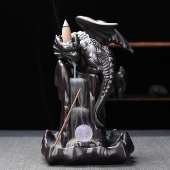 Chinese Style Dragon Flight Theme Backflow Incense Burner Home Office Tea Table Decoration Censer Classic Handmade