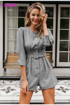 2019 autumn new round neck seven-point sleeve short jumpsuit women a row of buckle Button  Regular  Casual 2
