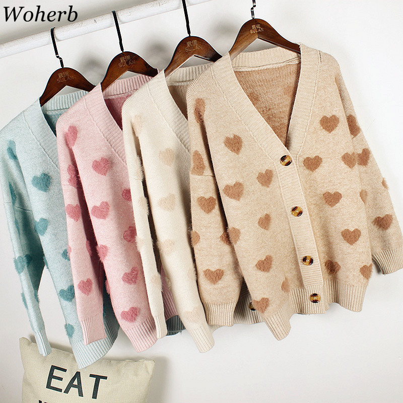 Whoerb 2020 Autumn Korean V-neck Jumper Cardigan Women Harajuku Cute Sweater Coat Heart Print Kawaii Cashmere Cardigans Jacket