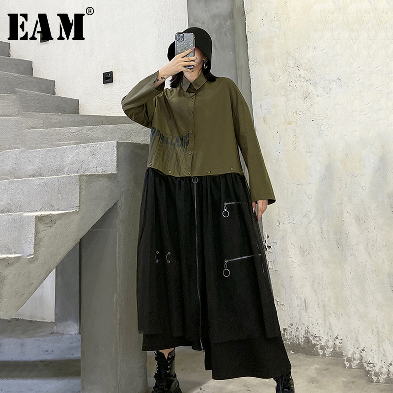 [EAM] Women Army Green Mesh Stitch Big Size Blouse New Lapel Long Sleeve Loose Fit Shirt Fashion Tide Spring Autumn 2020 1R489