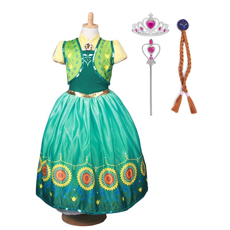 Kids Girls Frozen Princess Queen Anna Cosplay Costume Children Party Fancy Dress