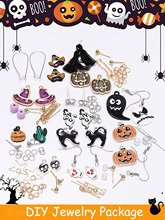 New Halloween style earrings DIY Jewelry Package Ghost Horror Pumpkin Skeleton Ear Studs Drop Earrings Hooks For Jewelry Making