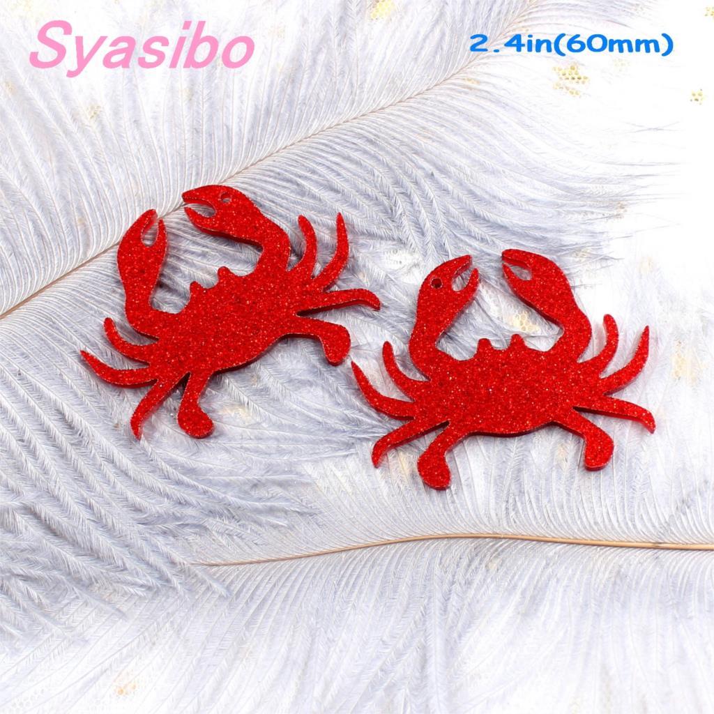 (8pcs)60mm Acrylic Crab For Earring High Quality Acrylic Crab Keychain Laser Cutout-AC1155