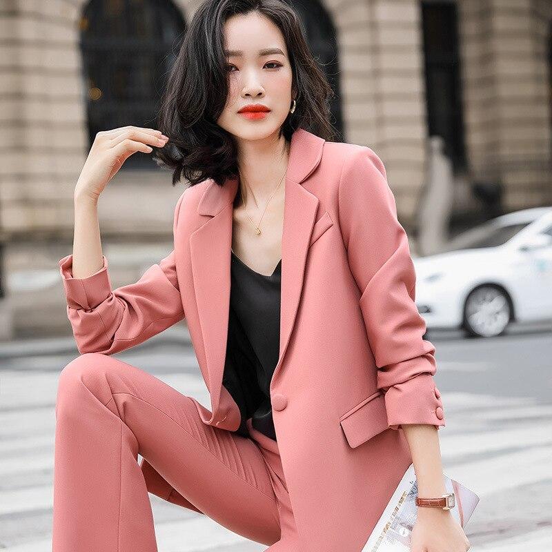 Large size women's S-4XL high quality ladies blazer pants Two-piece suit 2020 new autumn slim ladies office jacket Work clothes