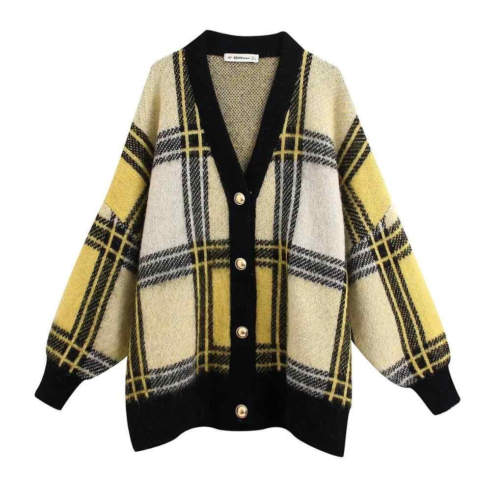 ZA 새로운 가을 겨울 여성 카디건 격자 무늬 니트 스웨터 여성 전체 슬리브 캐주얼 루즈 스타일 스웨터 여성 탑스
