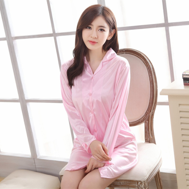 Spring Summer Long Sleeve Shirt Dress Pajamas Cardigan Viscose Quality Less Women's-Large Size Nightgown