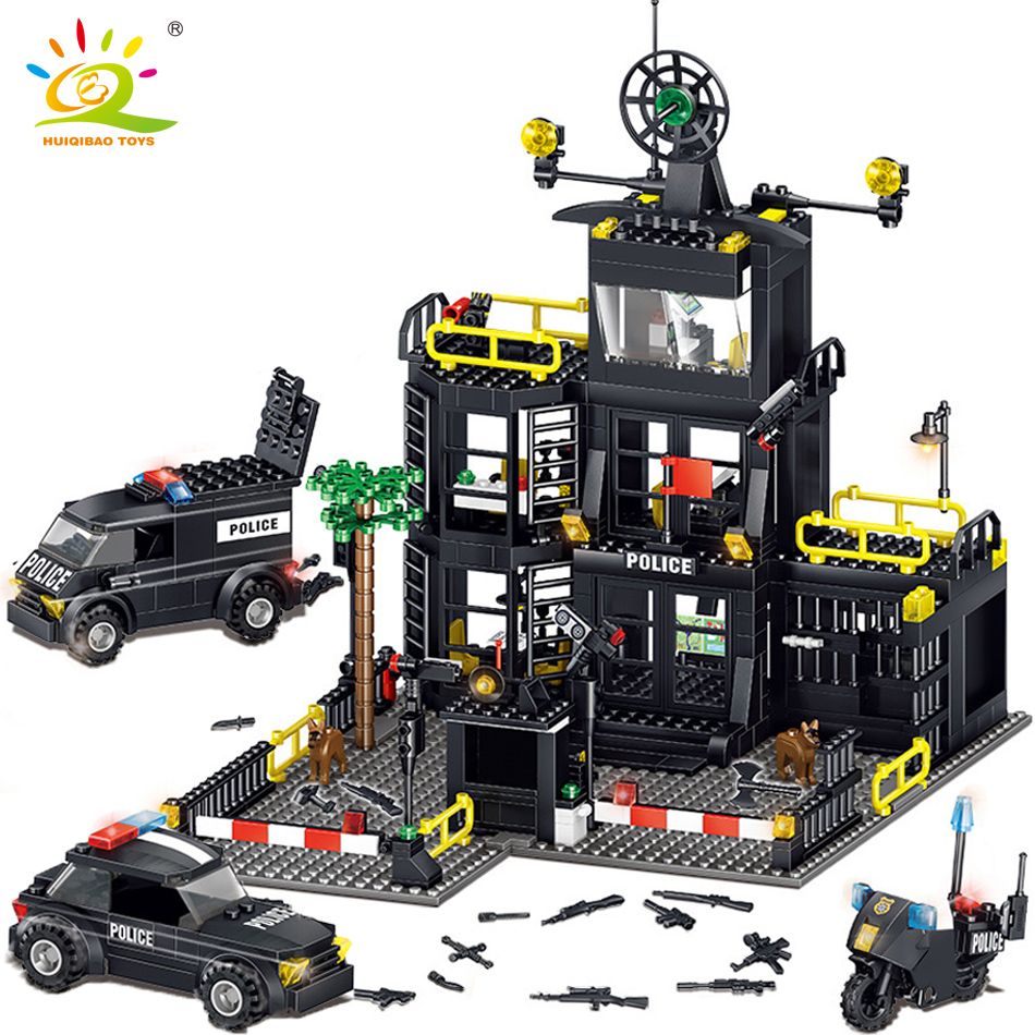 739pcs Police Station Prison Car Compatible Legoing City Model Building Blocks Kit Figures Bricks Construction Toys For Children