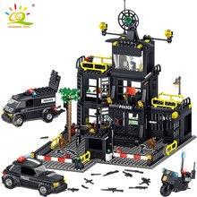 HUIQIBAO 739 stücke Polizei Station Gefängnis Auto city modell bausteine kit polizist zahlen Bricks Bau Spielzeug Für Kinder