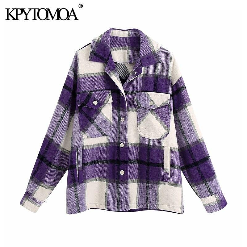 Tasche alla moda Vintage giacca scozzese oversize cappotto donna 2020 moda collo bavero manica lunga capispalla allentato top Chic 2