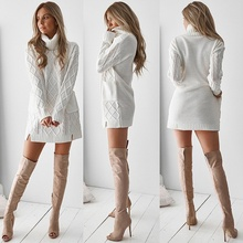 2019 winter women sweater Long Sleeve dress Casual Knitted Sweater Women Pullovers Turtleneck Coat