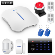 Kerui w1 wi fi casa sistemas de alarme do assaltante pstn sistemas de alarme segurança em casa sensor de movimento detector com teclado rfid cartões