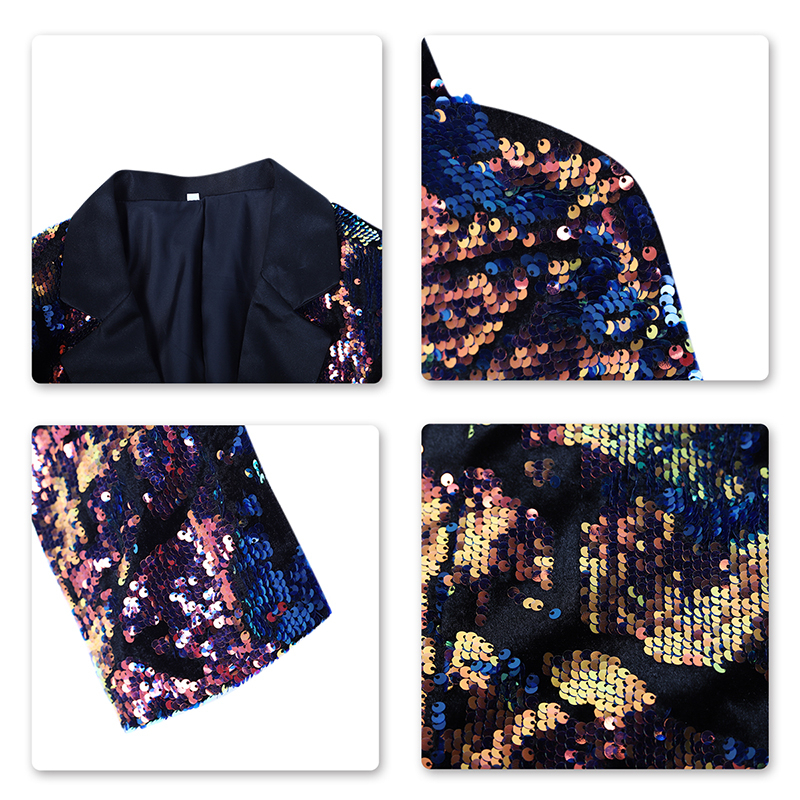PYJTRL Men's Nightclub Bar Changing Color Sequin Jackets