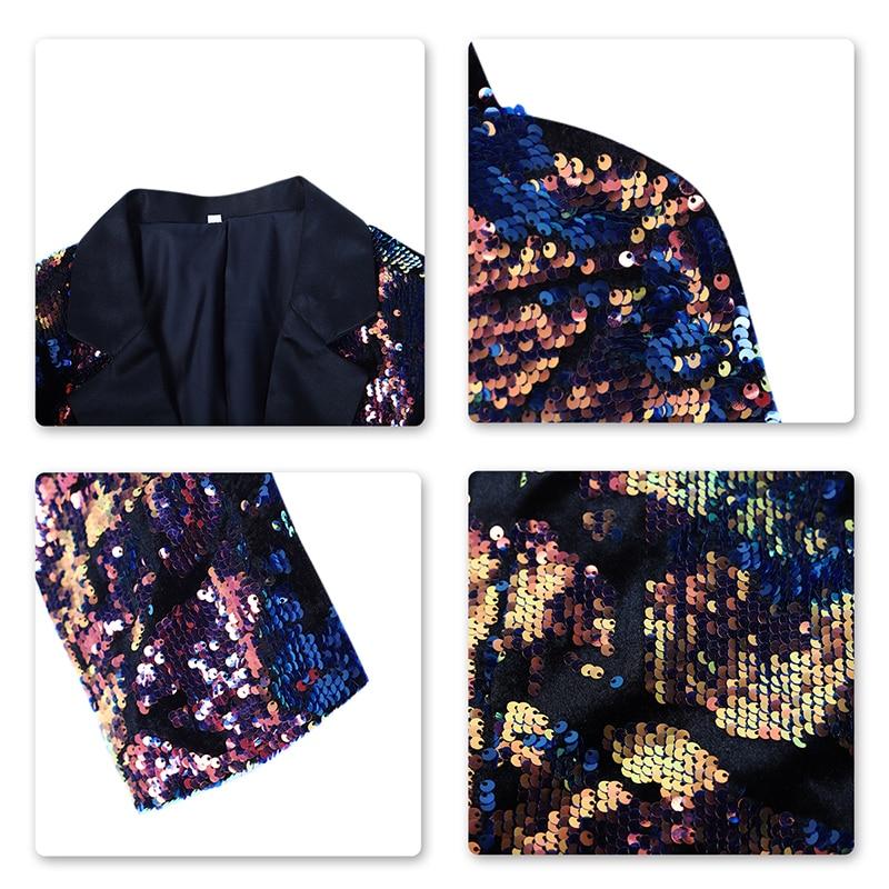 PYJTRL Men's Nightclub Bar Changing Color Sequin Jackets