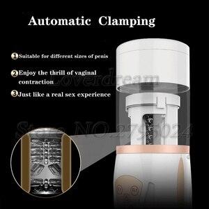 Image 3 - Automatic 55mm Telescopic Vagina Oral Pussy Male Masturbator Electric Airbag Piston Clamping Sucking Vibrator Sex Toys For Men