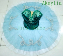 цена на Deep Green silver Pancake Peformance Tutus women sugar plum fairy cometiton stage tutu costumes Adult Professional Ballet Tutu