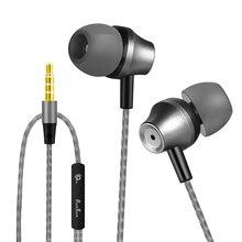 PunnkFunnk Deep BASS ชุดหูฟังสเตอริโอหูฟัง 3.5 มม.หูฟังโลหะ HIFI หูฟังพร้อมไมโครโฟนหลายโทรศัพท์มือถือ