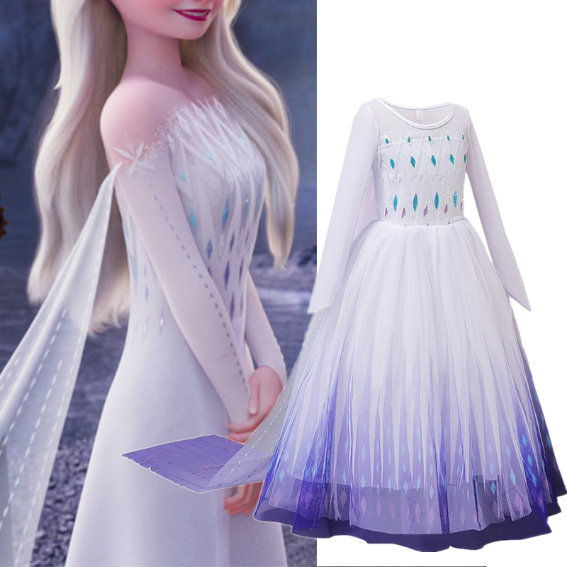 Anna Elsa 2 Girls Dress Princess Costume Halloween Carnival Elsa Dress up Kids Dresses