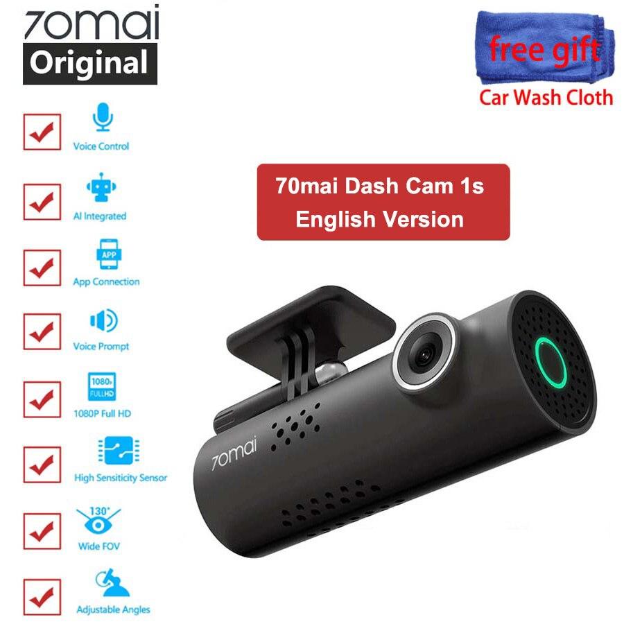 Xiaomi 70mai видеорегистратор с английским голосовым управлением, автомобильная камера 70 mai 1s 1080P, видеорегистратор с ночным видением, g-сенсор, ви...