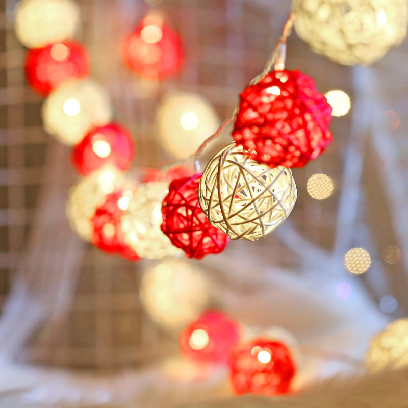 QYJSD LED Luminaria Exterior Rattan Garland Balls Light String Indoor New Year Decor Wedding Bedroom Christmas Tree Decoration