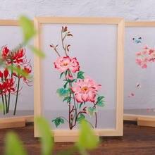 Прозрачный Набор для вышивки «сделай сам» с китайскими цветами