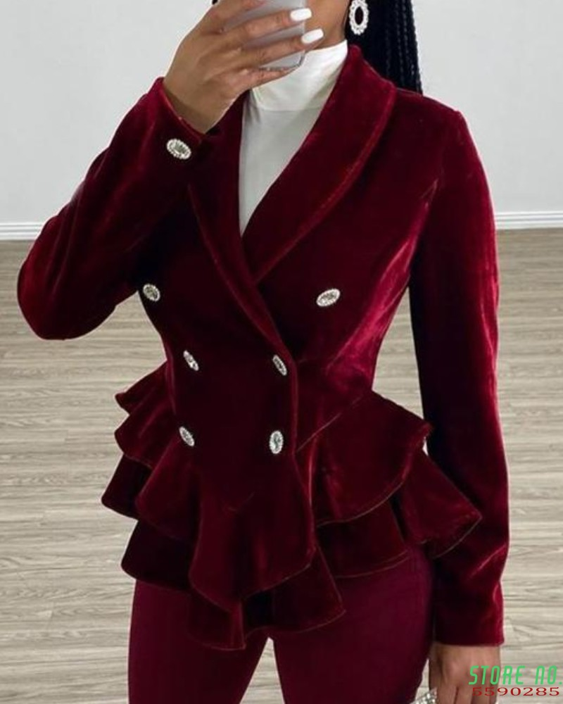 Womens Retro Velvet Blazer Suit Ruffle Double Breasted Office Work Jacket Coat