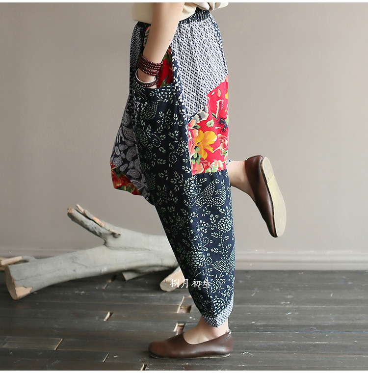 Original folk style women's retro stitching old cotton and linen material shift pants women loose large size baggy pants 44