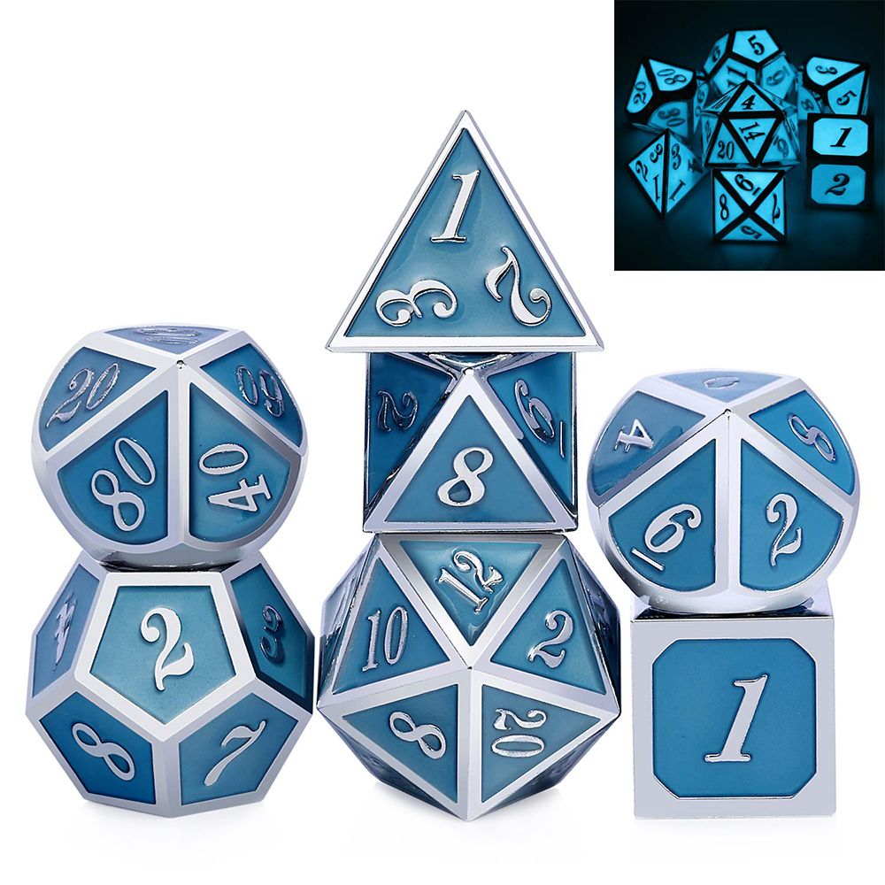 Luminous Blue Glowing DnD Metal Dice Set For Role Playing Game Dungeons And Dragons RPGs And Other Table Games