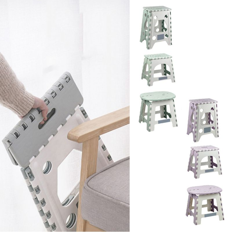 1PC Plastic Folding Step Stool Multi Purpose Home Train Outdoor Storage Kids Holding Stool Camping Foldable Outdoor Storage