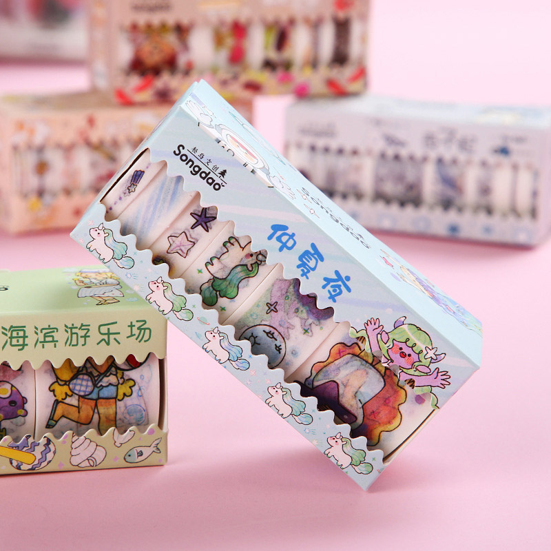 6Pcs Cute Cartoon Washi Tape Kawaii Adhesive Tape Decor Masking Tapes For Kids Scrapbooking DIY Supplies Stationery
