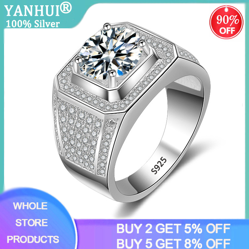 YANHUI Luxury Men 100% Original 925 Silver Rings Gift For Men High Quality Full Zirconia Stones Wedding Rings Men Jewelry R225