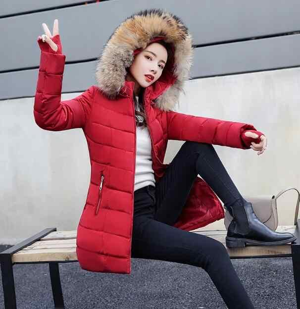 S-3XL Nữ Xuống Áo Khoác Cotton Nữ Mùa Đông Áo Khoác Hoodie Dài Parkas Nữ Cổ Lông Ấm Áo Khoác Nữ áo Khoác