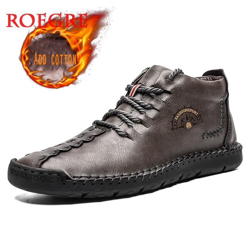 2019 New Fashion Men Boots High Quality Split Leather Man Ankle Non-slip Snow Boots Shoes Warm Fur Plush Men's Winter Shoes Plus Size 38~50