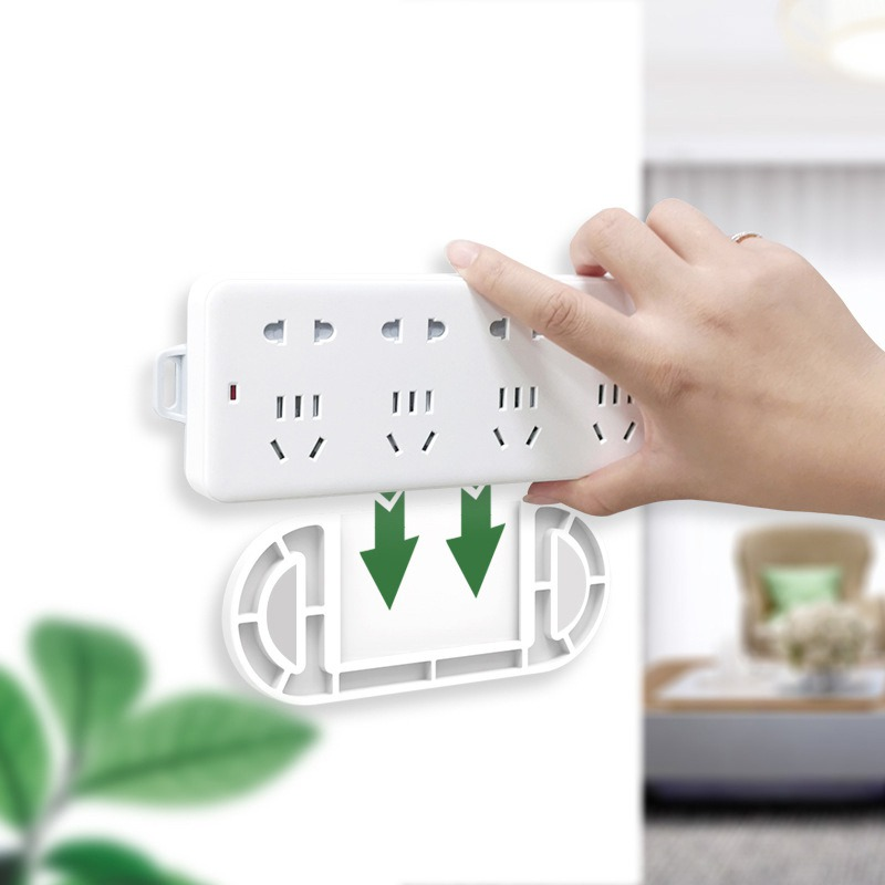 Useful Home Self Adhesive Wall Mount Power Strip Fixator Punch-Free Seamless Power Strip Holder Stand,