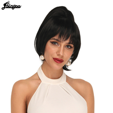 Ebingoo 1B Separate Hair Piece Clip in Bangs Short Wave Ponytail Black Extension Heat Resistant Futura Fiber Synthetic Wig