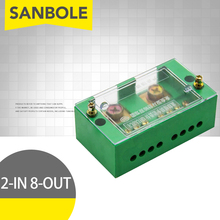 FJ6 Terminal Block Single-phase 2-IN 8-OUT Wire Connection Row 220V Household (Neutral Live Wire) Part Line Distribution Box