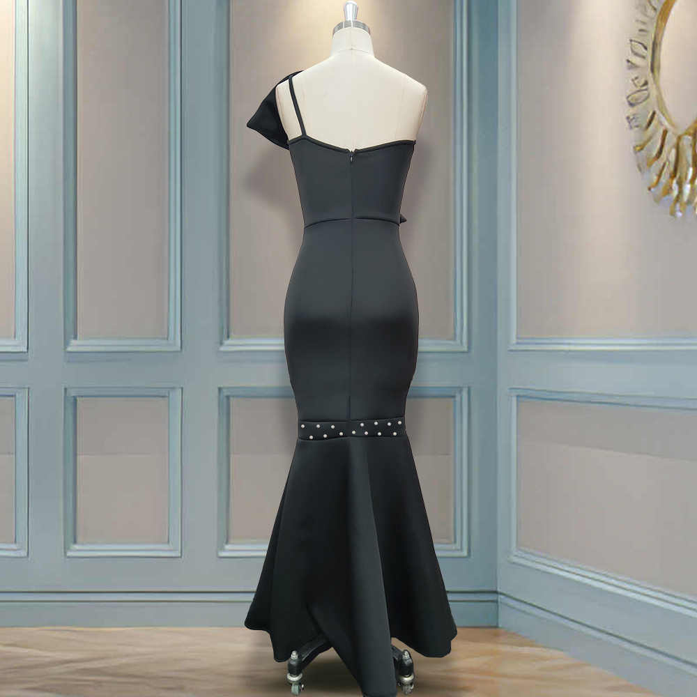 Schwarz Lange Rohr Tops Party Kleid Sexy Big Bowtie Perlen Event Anlass Frauen Maxi Elegante Feiern Abend Nacht Roben