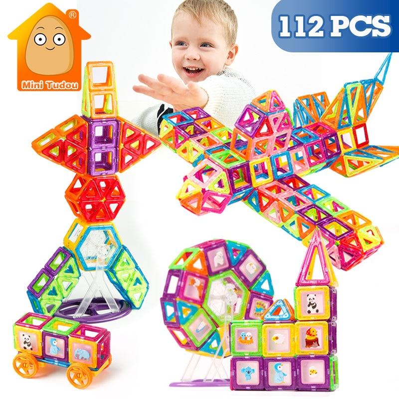 112 adet Mini manyetik tasarımcı inşaat seti modeli ve bina plastik manyetik bloklar eğitici oyuncaklar çocuklar için hediye