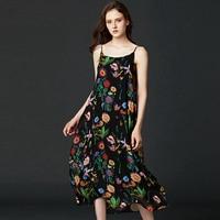 Dress Women 100% Silk Simple Design Printed Adjustable Spaghetti Strap Sleeveless Long Dress Elegant Style New Fashion