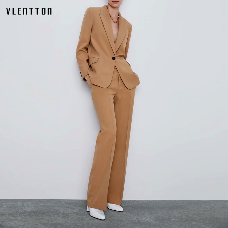 2019 Autumn Office Work Women Pant Suits Single Button Long Sleeve OL Ladies Blazers Jackets Zipper Flare Trouser Two Piece Set